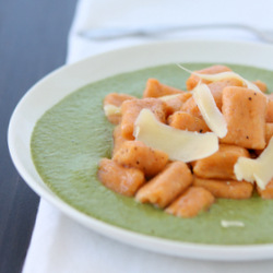Sweet Potato Gnocchi with Spinach Goat Cheese Sauce Recipe