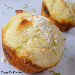 Coconut Lime Muffins with Rum and White Chocolate