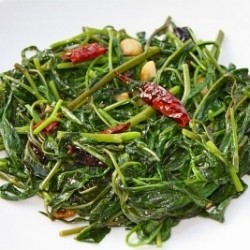 Stir Fried Water Spinach with Chili and Sichuan Pepper