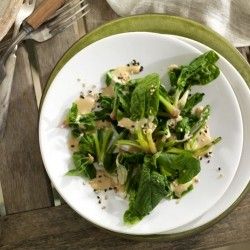 Spinach Crowns with Sesame Miso Dressing Recipe
