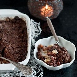 Chocolate Crumble with Pears Candied Ginger and Walnuts